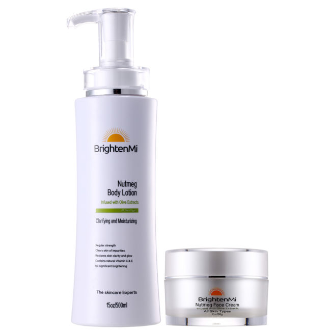 BrightenMi Olive Line nutmeg body lotion and face cream